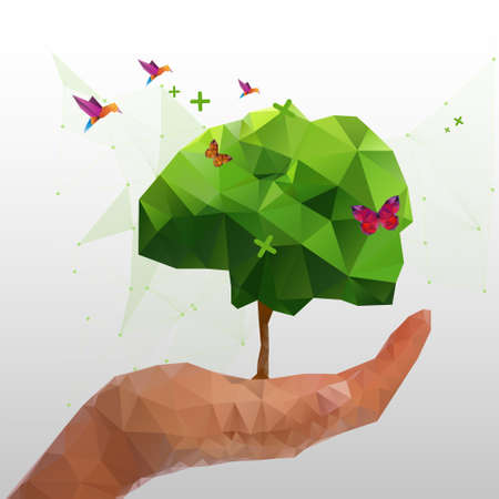 Illustration of geometric polygonal tree in hand