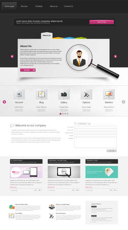 magnyfying glass: Corporate Website Template, Professional One Page Design.