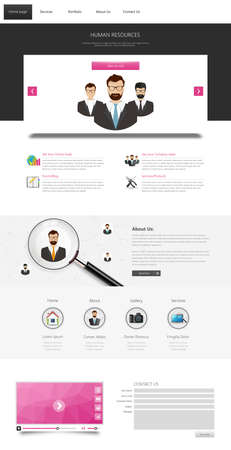 all in: One page website design template. All in one set for website design that includes one page website templates. Teamwork theme.