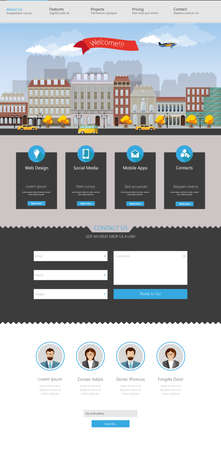 lanscape: Modern flat website template design Illustration