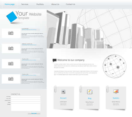 login button: Website Template with City Illustration in the Header Background Design