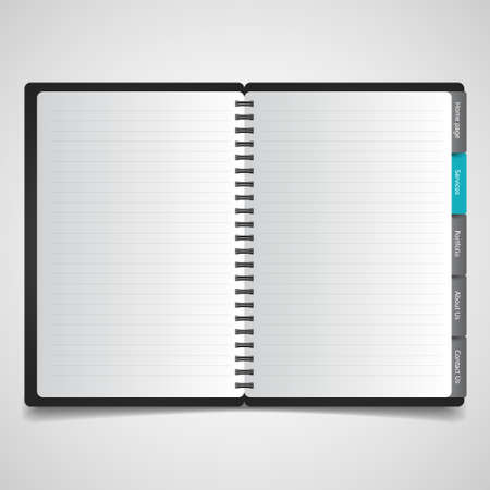 open notebook: Open notebook with white page Illustration
