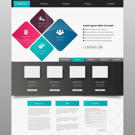 website template: Website design template, vector.