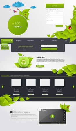 Modern Eco one page website template Vector