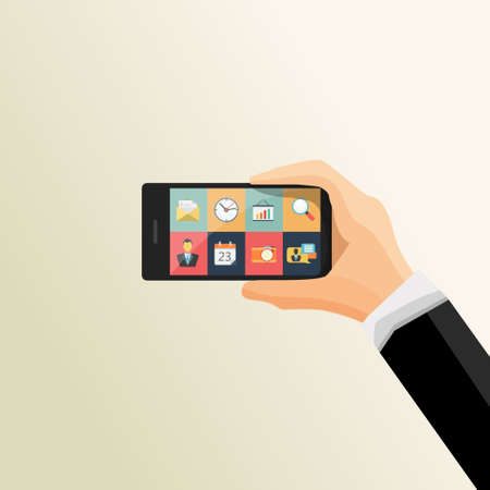 mobile application: Flat Vector illustration of human hands holding mobile phone with icons. Mobile communication concept. Vector Illustration.