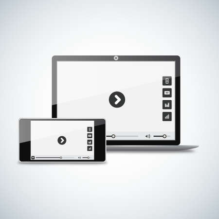 illustration laptop with a smartphone. Video player on screen Vector