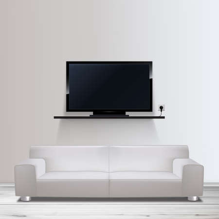 Vector HD TV on shelf, and sofa realistic illustration, Vector