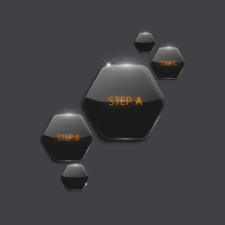 Modern 3d black hexagonal infographic boxes Vector