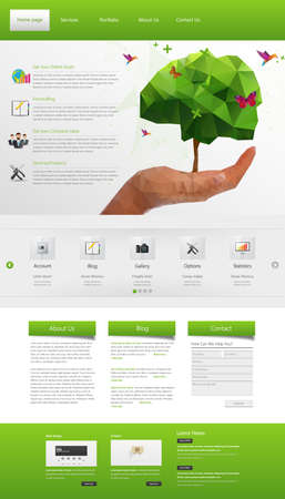 Eco Modern Website Template. One page Design.  Vector