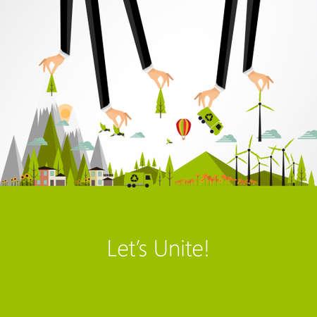 planeta verde: Eco negocio Dise�o de fondo, vector Eps10 Vectores