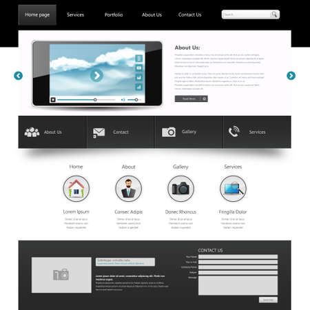 One Page Website Template. Vector illustration. Vector