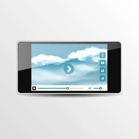 player controls: Smart Phone Video Player - Vector illustration - multiple views of a smart phone with video player interface. Illustration