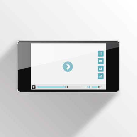 player controls: Smart Phone Video Player with long shadow - Vector illustration - multiple views of a smart phone with video player interface.