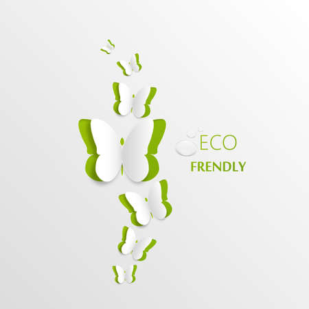 Eco concept - green butterfly cut the paper - abstract background