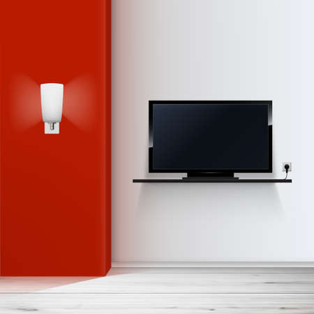 empty room with tv minimal illustration, Vector. Vector