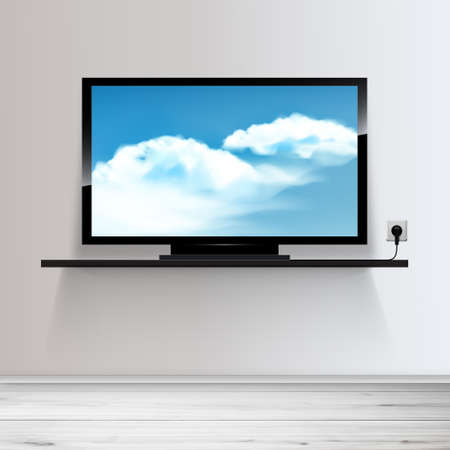 Vector HD TV on shelf, realistic illustration, sky with clouds on screen. Illustration