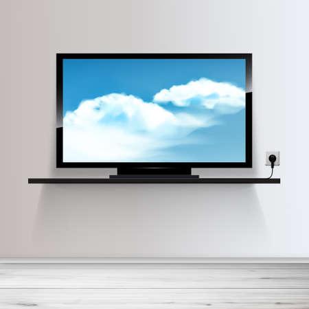 Vecteur HD TV sur le plateau, illustration réaliste, ciel avec des nuages ??sur l'écran.