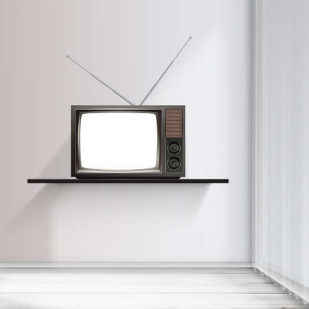 televisor: Realistic Vector Illustration of interior and Blank retro televidion.