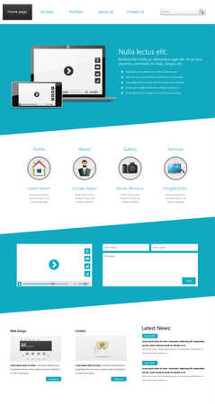 One page website design template. All in one set for website design that includes one page website templates, Vector