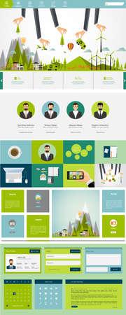 Eco One page flat website design, huge collection of website elements. Illustration