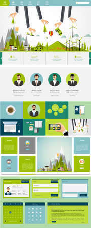 color pages: Eco One page flat website design, huge collection of website elements. Illustration