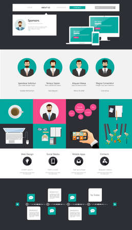 One page website design template. All in one set for website design that includes one page website templates, uxui kit for website design, and flat design illustrations. Vector