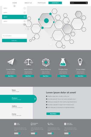 kits: Flat Chemistry Website elements, Ui kits. Vector illustration