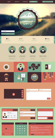 One Page Hipster Website Template design.