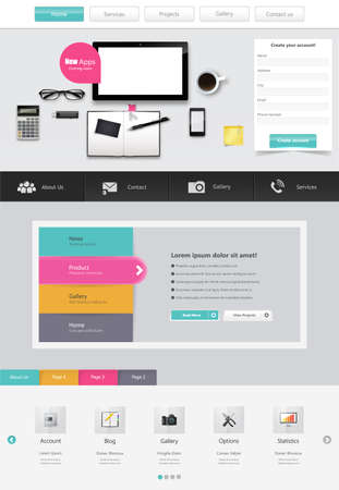 Website Template Vector Design with realistic still life illustration, tablet, coffee, notebook. 向量圖像