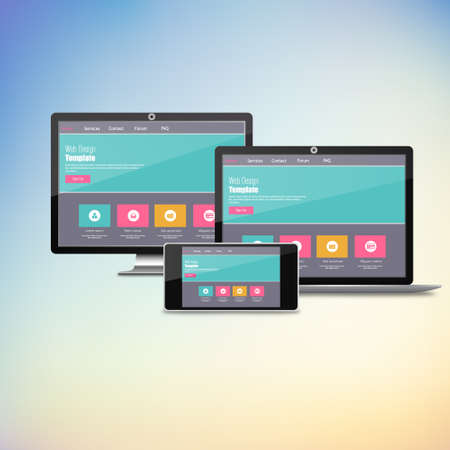 Modern flat web design in responsive website vector 向量圖像