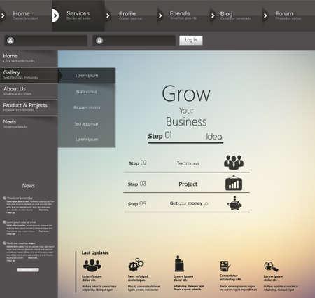 submenu: Design of the menu for a website. Creative web design Illustration