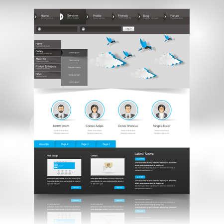 submenu: Website Design Template. Vector illustration.