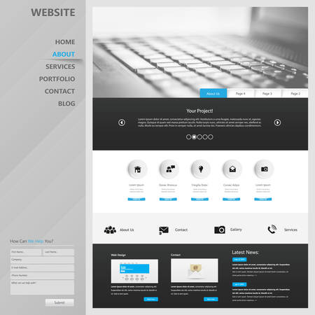 One page website design template. All in one set for website design that includes one page website template. 向量圖像