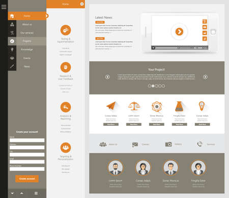 all in one: One page website design template. All in one set for website design that includes one page website template. Illustration