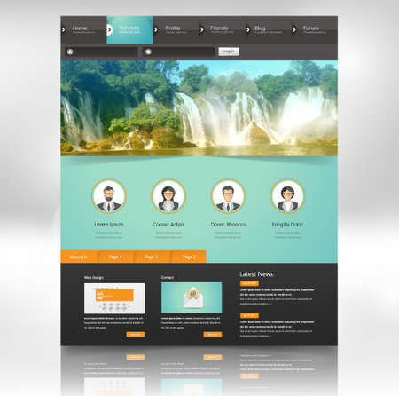 page design: Website Design Template for Your Business with Waterfall Photo Background