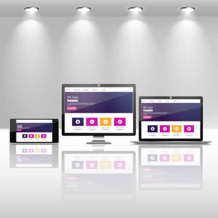 web site: Fully responsive web design in electronic devices vector eps10 Illustration