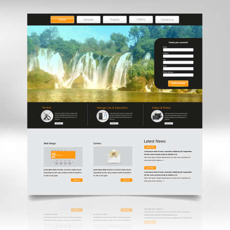 Website Design Template for Your Business with Waterfall Photo Background