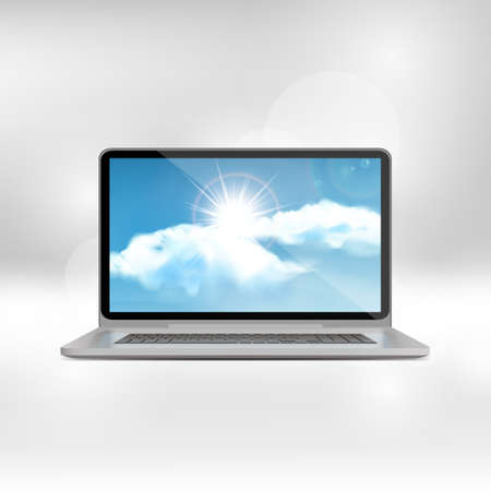 fullhd: Isolated Laptop Illustration with blue vector sky with clouds and sunrise,