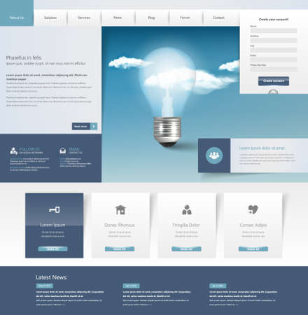 Design of the menu for a website. Creative web design Illustration