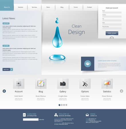 website header: Design of the menu for a website. Creative web design Illustration