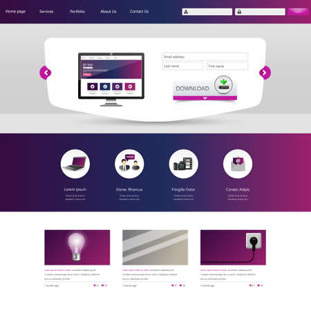 website header: Website Design Template. Vector illustration.