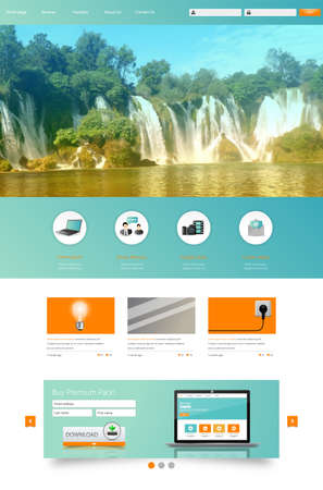 website: Website Design Template for Your Business with Waterfall Photo Background