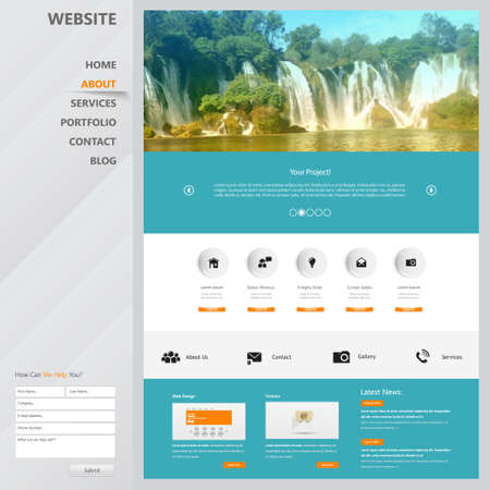 website design: Website Design Template for Your Business with Waterfall Photo Background