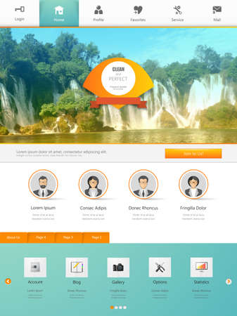 sidebar: Website Design Template for Your Business with Waterfall Photo Background