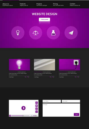 sidebar: One Page Website Design Template. Vector illustration.