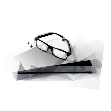black eye: Abstract Polygon Black Eye Glasses on black book.