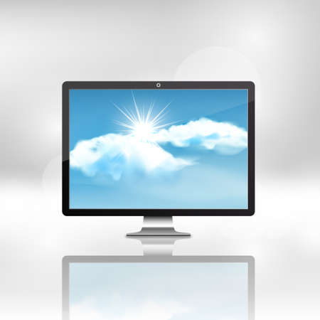 tft: Black stylish glossy widescreen TFT display with blue sky and clouds, vector illustration,