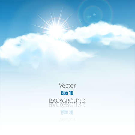 Blue sky with clouds and rays. Vector background