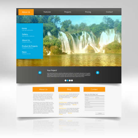 submenu: Website Design Template for Your Business with Waterfall Photo Background