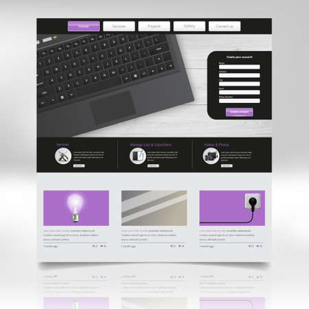 Website Template Design. Vector illustration with open laptop.